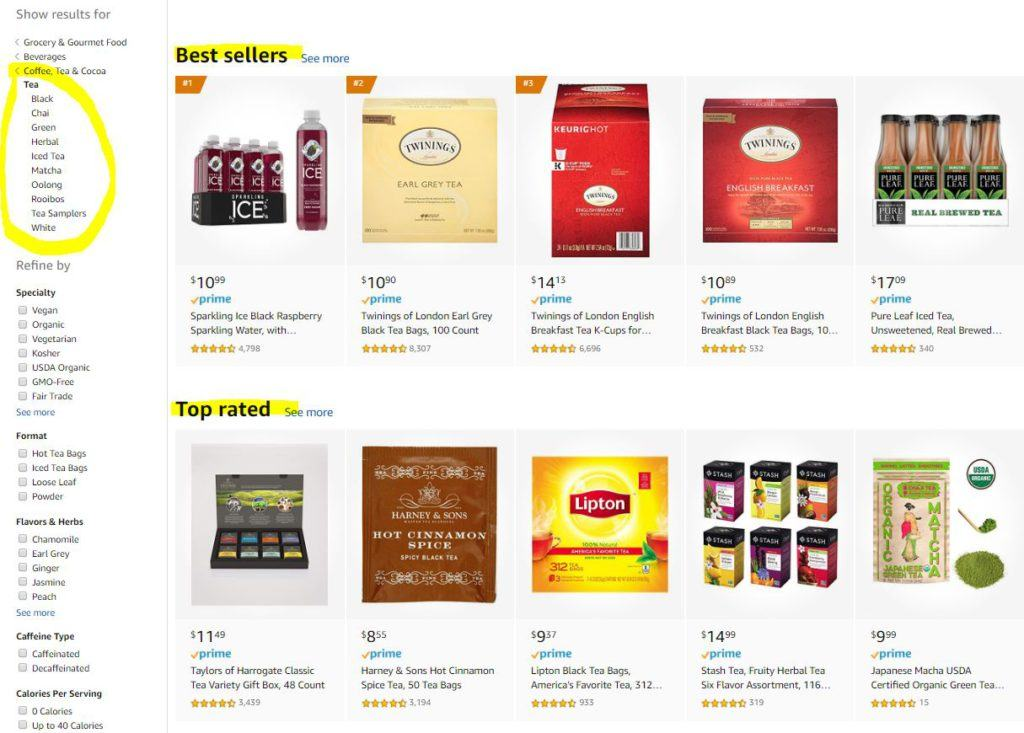 Tea Varieties on Amazon