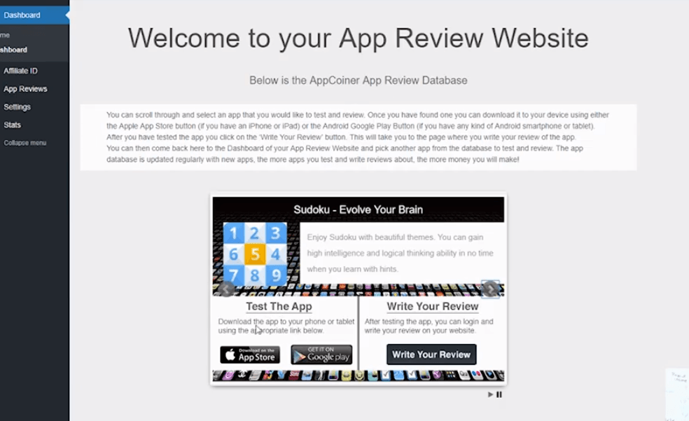 AppCoiner Free Review WordPress Website