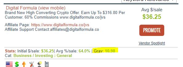 Digital Formula Low Gravity Score on Clickbank
