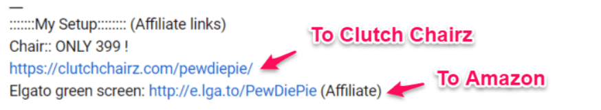 PewDiePie Affiliate Links