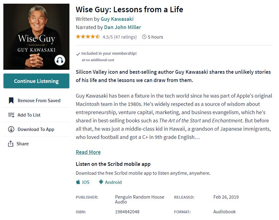 Example of an audiobook information on Scribd