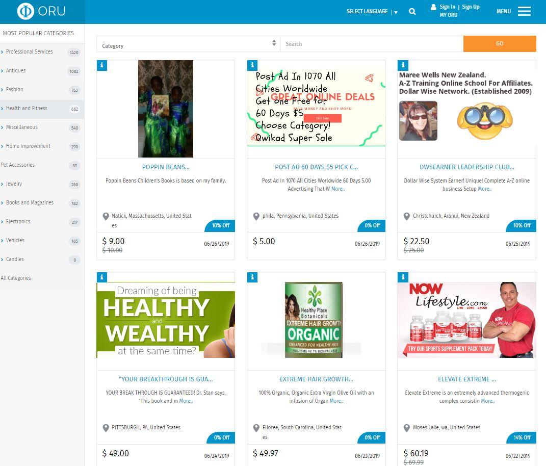 Oru Marketplace Listings