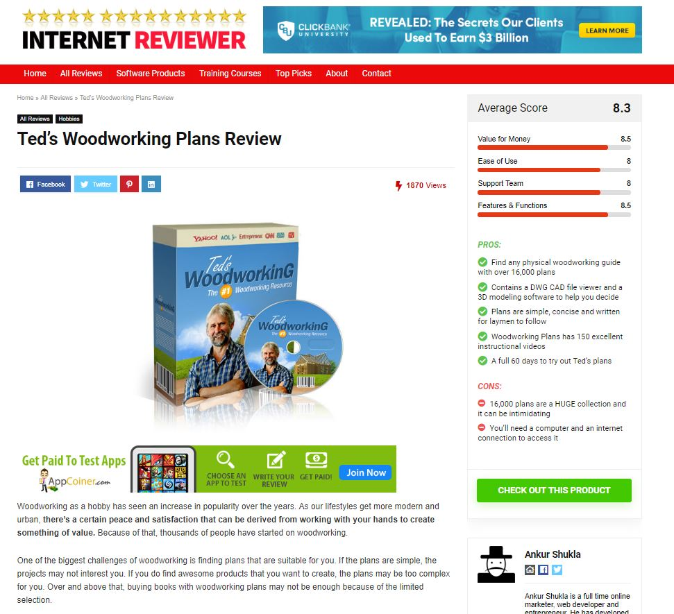 A Product Review on 1 Click Affiliate Site