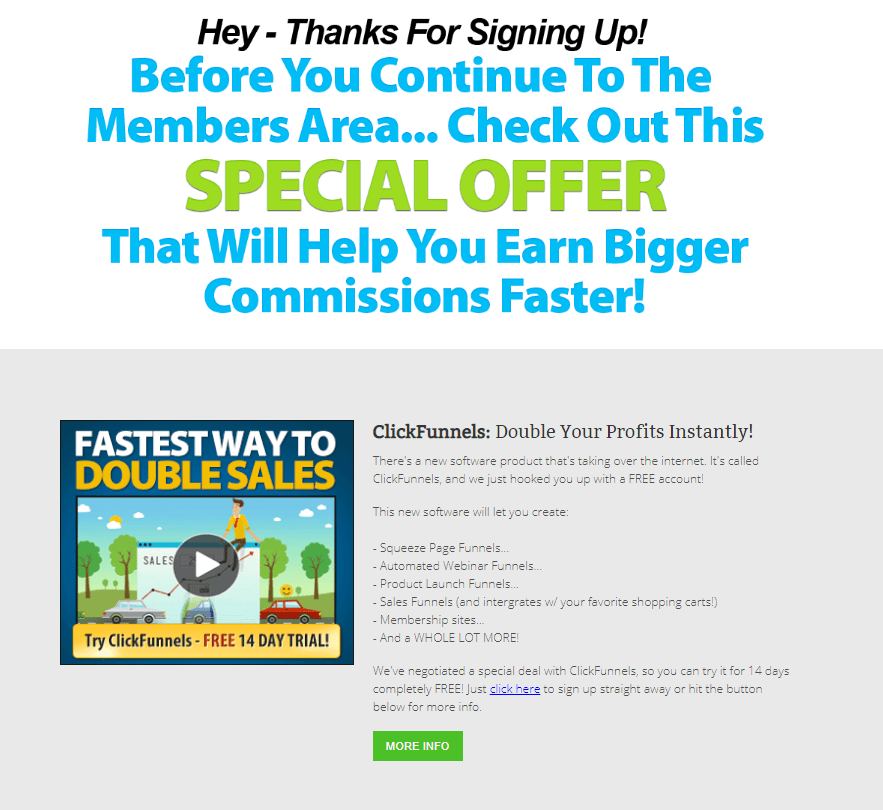 ClickFunnel Offer During Clickbetter Sign Up