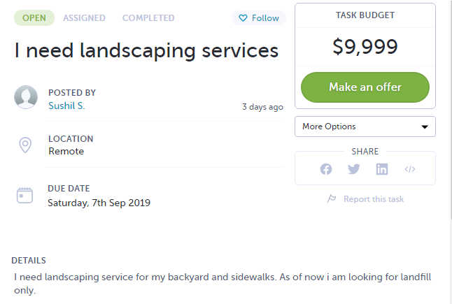 Landscaping Job on AirTasker - Pays 9K+