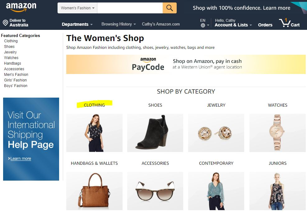 Amazon Women Fashion Department
