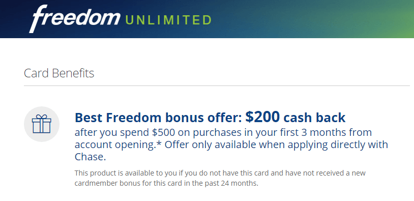 Chase Freedom Unlimited Cashback