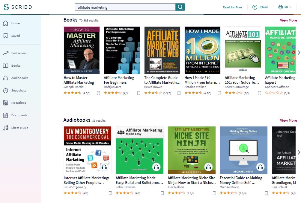 Affiliate Marketing Audiobooks and Books on Scribd