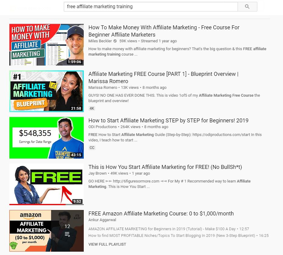 Affiliate Marketing Videos on YouTube