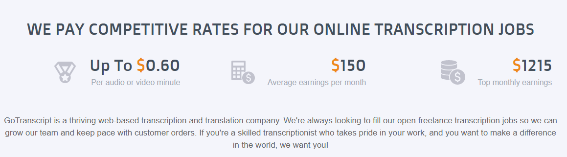 Pay Rate for GoTranscript