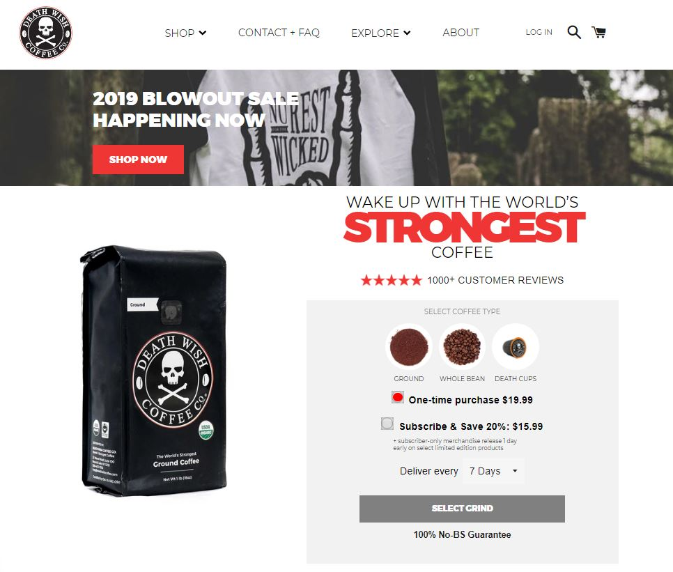 Death Wish Coffee Homepage