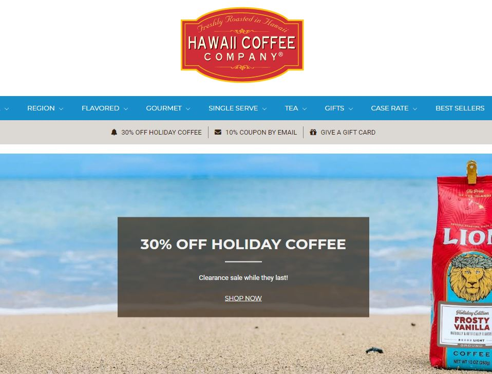 Hawaii Coffee Company Homepage
