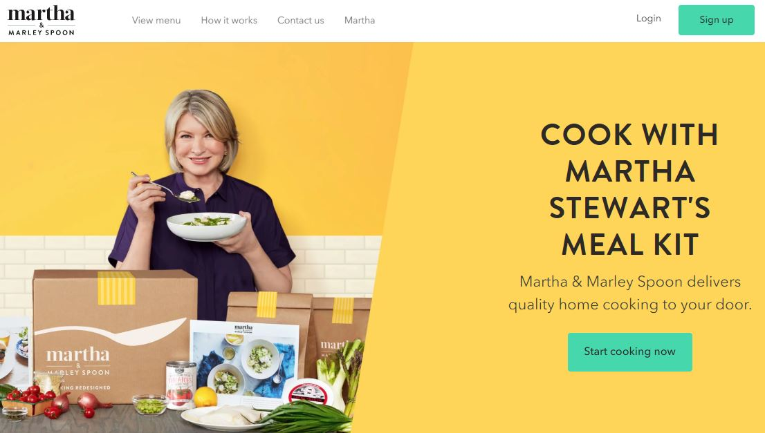 Marley Spoon and Marthe Stewart Meal Kit Homepage