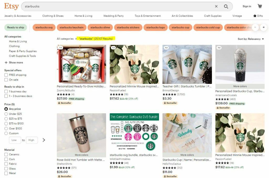 Starbucks Inspired Merchandise on Etsy