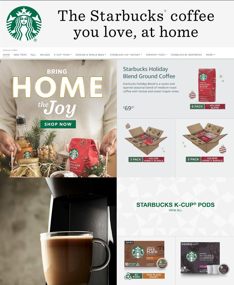 Starbucks Online Store on Amazon