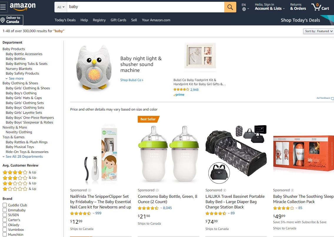 Amazon Baby Products Department