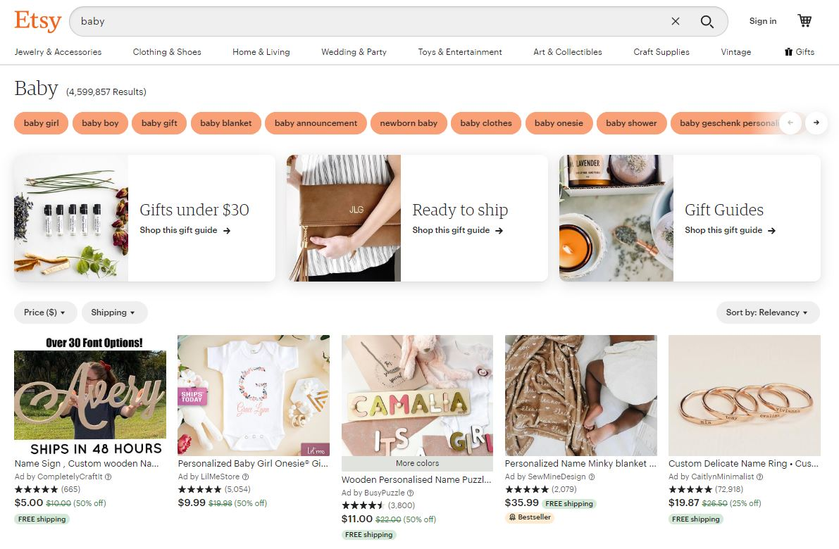 Etsy Baby Marketplace