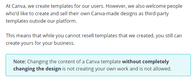 Canva Terms and Condition for Selling Template