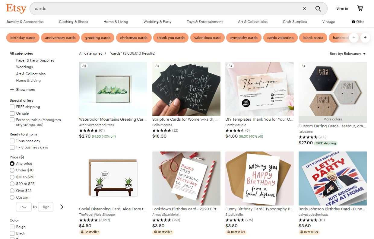 Card Sellers on Etsy