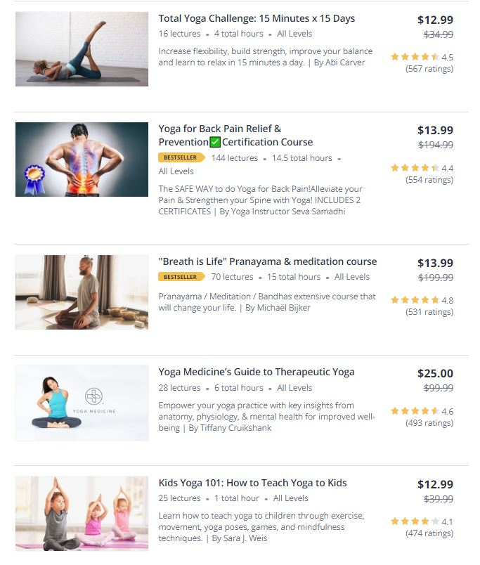 Yoga Online Classes on Udemy