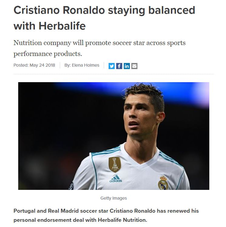 Christiano Ronaldo Endorsed Herbalife Nutrition