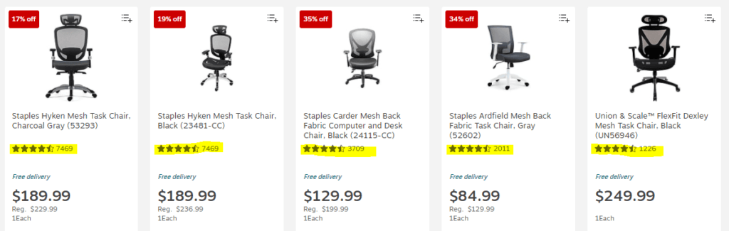 Positive Customer Reviews for Staples Ergonomic Chairs