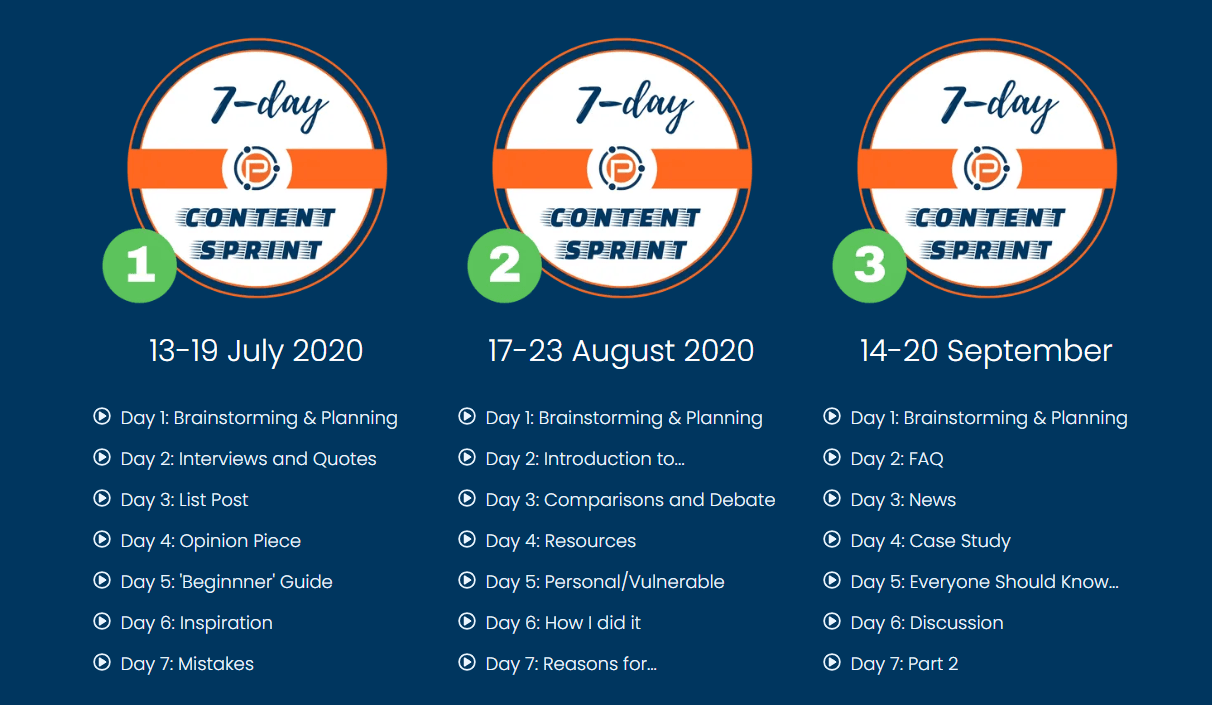 7 Day Content Sprint by Problogger