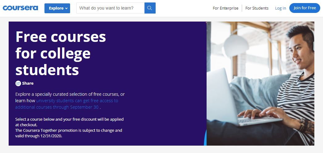 Free Courses on Coursera for College Students