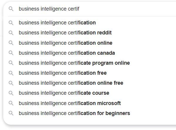 Keywords for Business Intelligence 1
