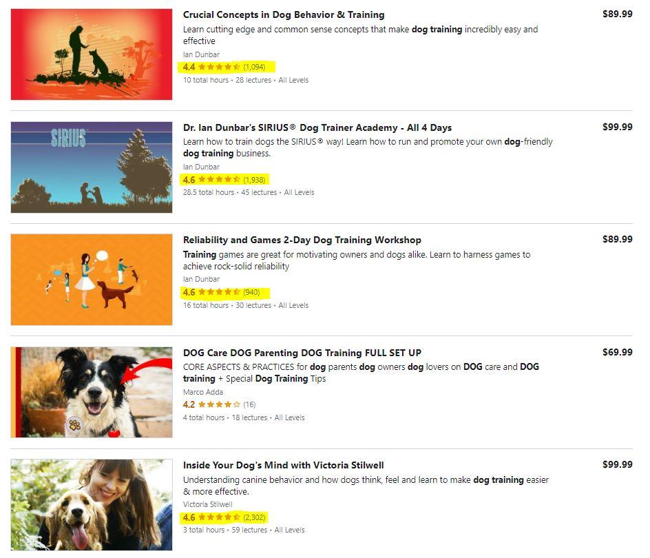Dog Training Courses on Udemy