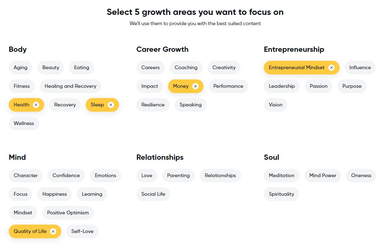 Mindvalley Five Growth Areas to Focus On