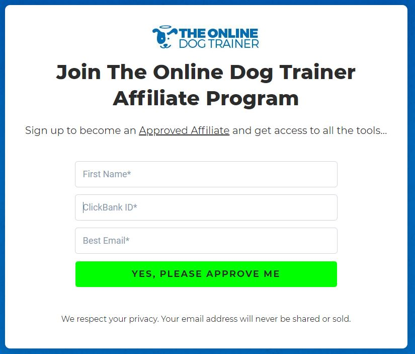 The Online Dog Trainer Affiliate Application