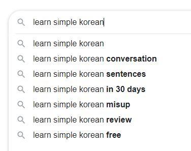 Learn Simple Korean Keywords